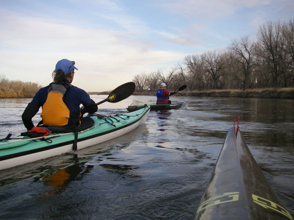 South Platte River winter paddling