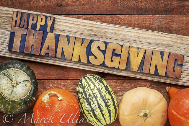 Happy Thanksgiving greeting card - text in vintage letterpress